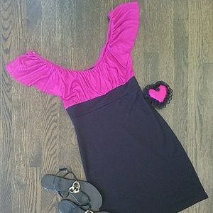 Vibrant and Sexy NWOT Ruffle Cap-sleeve Mini-dress